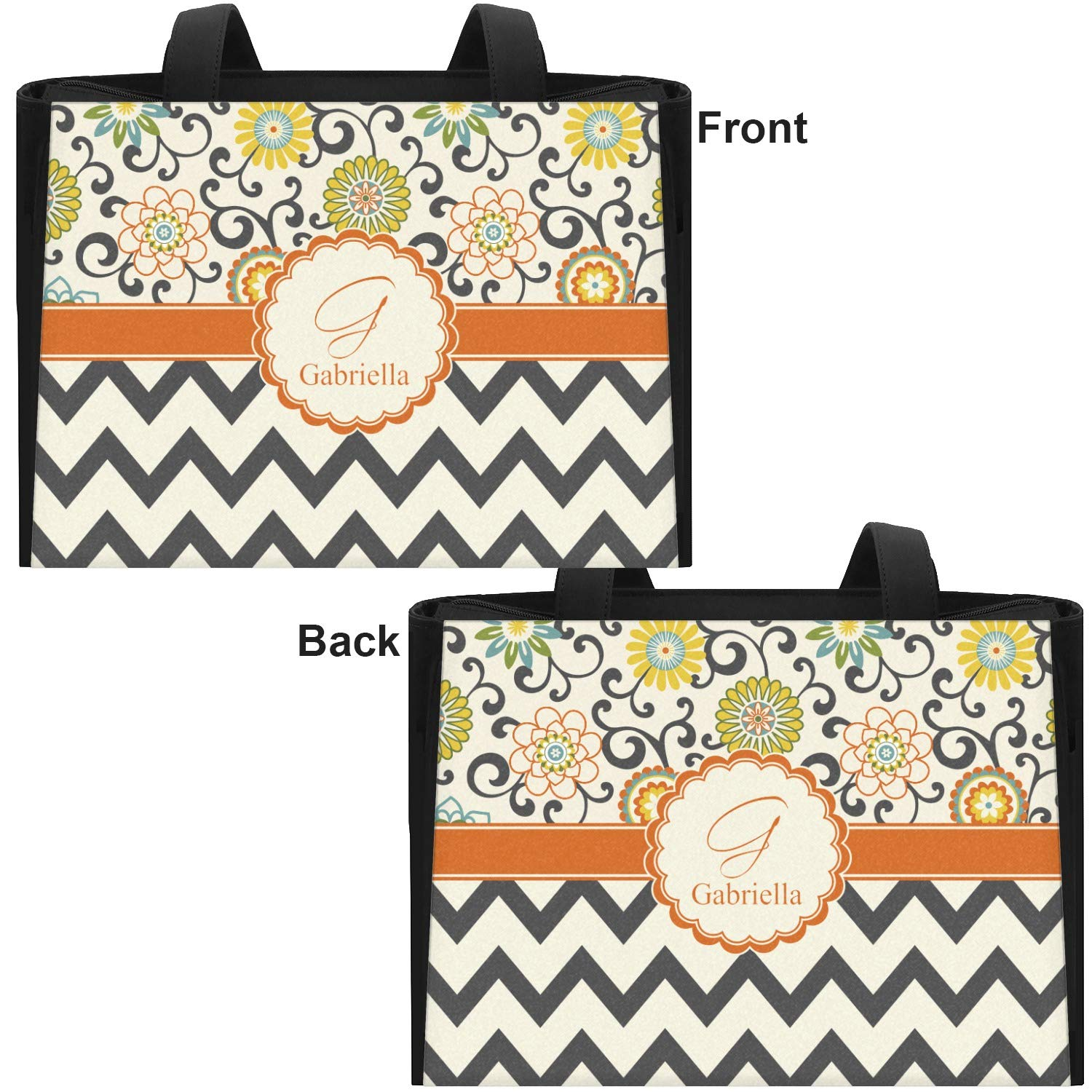 Swirls Personalized Floral /& Chevron Ladies Workout Bag Front /& Back