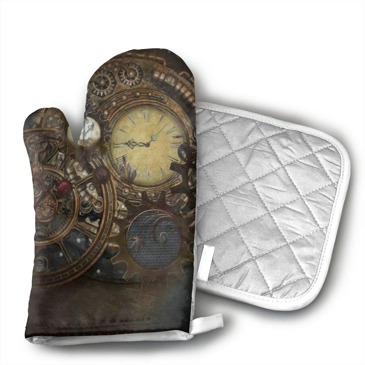 GRSTsys Steampunk Clocks Oven Mitts and Potholders Kitchen Counter Safe Mats and Advanced Heat Resistant Oven Mitt, Non-Slip