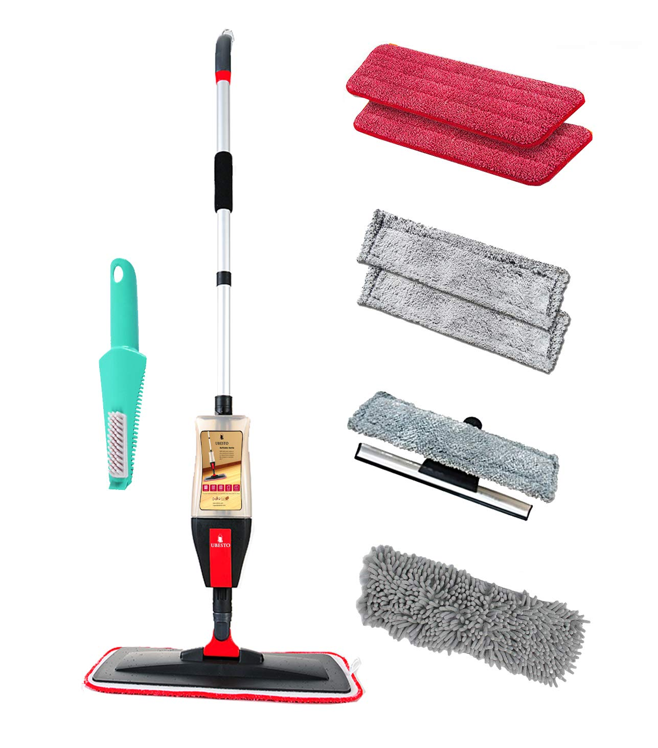 Floor Spray Mop Kit with 4-in-1 Function, Mop Set for Vinyl, Hardwood, Laminate, Marble, Tile Floors | 7 Accessories: 2 Microfiber Pads, 2 Window Cleaner Pads, 1 Glass Wiper, 1 Chenille Pad, 1 Scraper
