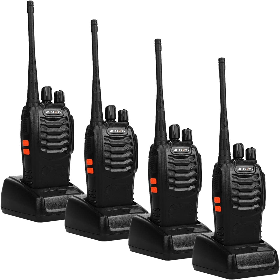 Retevis H-777 Walkie Talkies for Adults Rechargeable 4 Pack, Long Range Two-Way Radios USB Charger 16CH Flashlight Handheld 2 Way Radio
