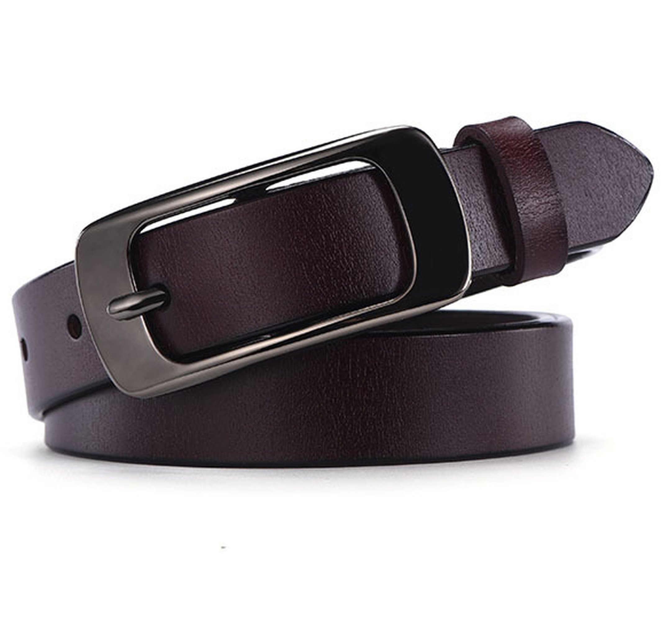 Ayli Women's Jean Belt, Classic Buckle Handcrafted Genuine Leather Belt, Free Gift Box, Coffee, Fits Waist 30'' to 32'' (US Pants Size 8-12), bt3w006cf100