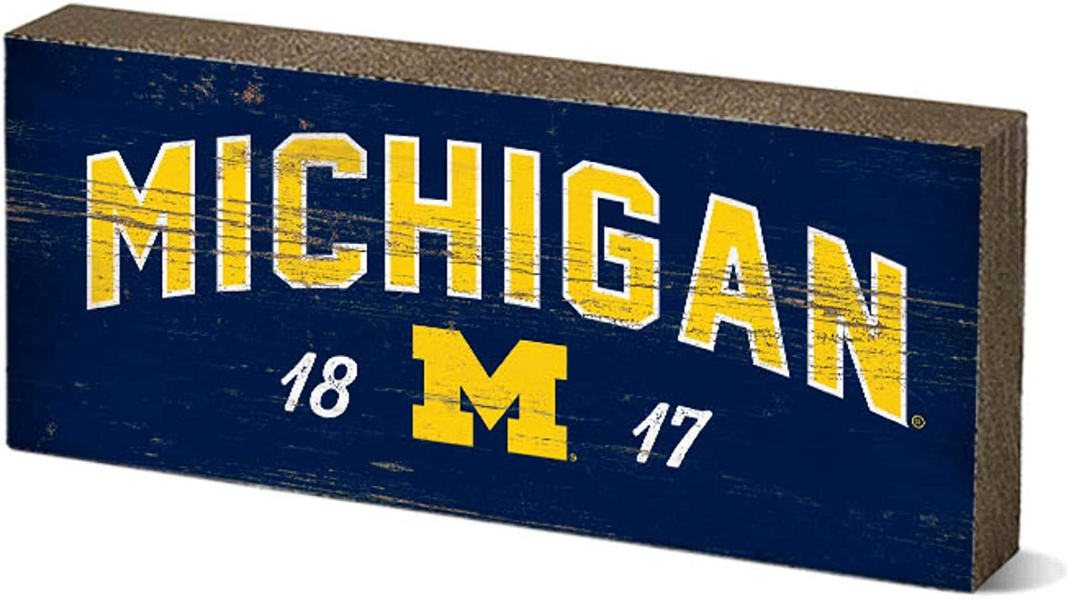 One Size NCAA Legacy Michigan Wolverines Mini Table Top Stick 2.5x6 Wood