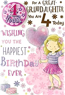 Great Granddaughter 4th 4 Today Happy Birthday Card With A Lovely