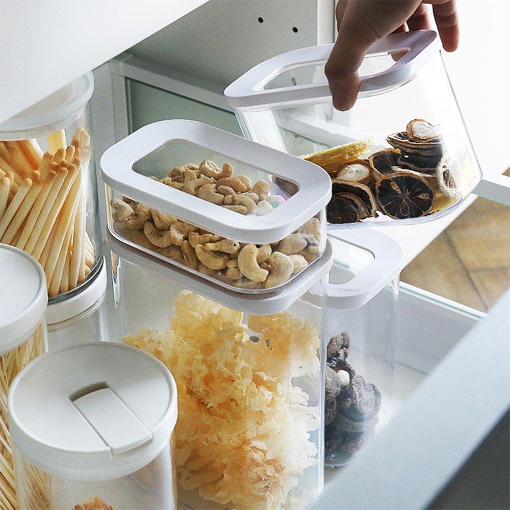 Contenitori per alimenti con coperchi–Set di 4contenitori ermetici per cereali di plastica senza BPA, colore durevole barattoli con coperchio da Banfang