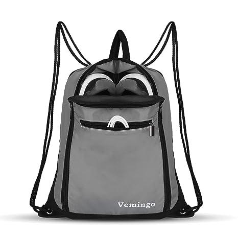 Amazon.com  Vemingo Drawstring Backpack Bags, Men   Women Drawstring Gym  Sack Cinch Bag Backpacks Gymsack Sackpack Waterproof - Gray  Vemingo f9eb6baedb