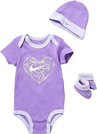 Nike Girls 3 Piece 3-6 Months White Purple Bodysuit Bib Cap Beanie