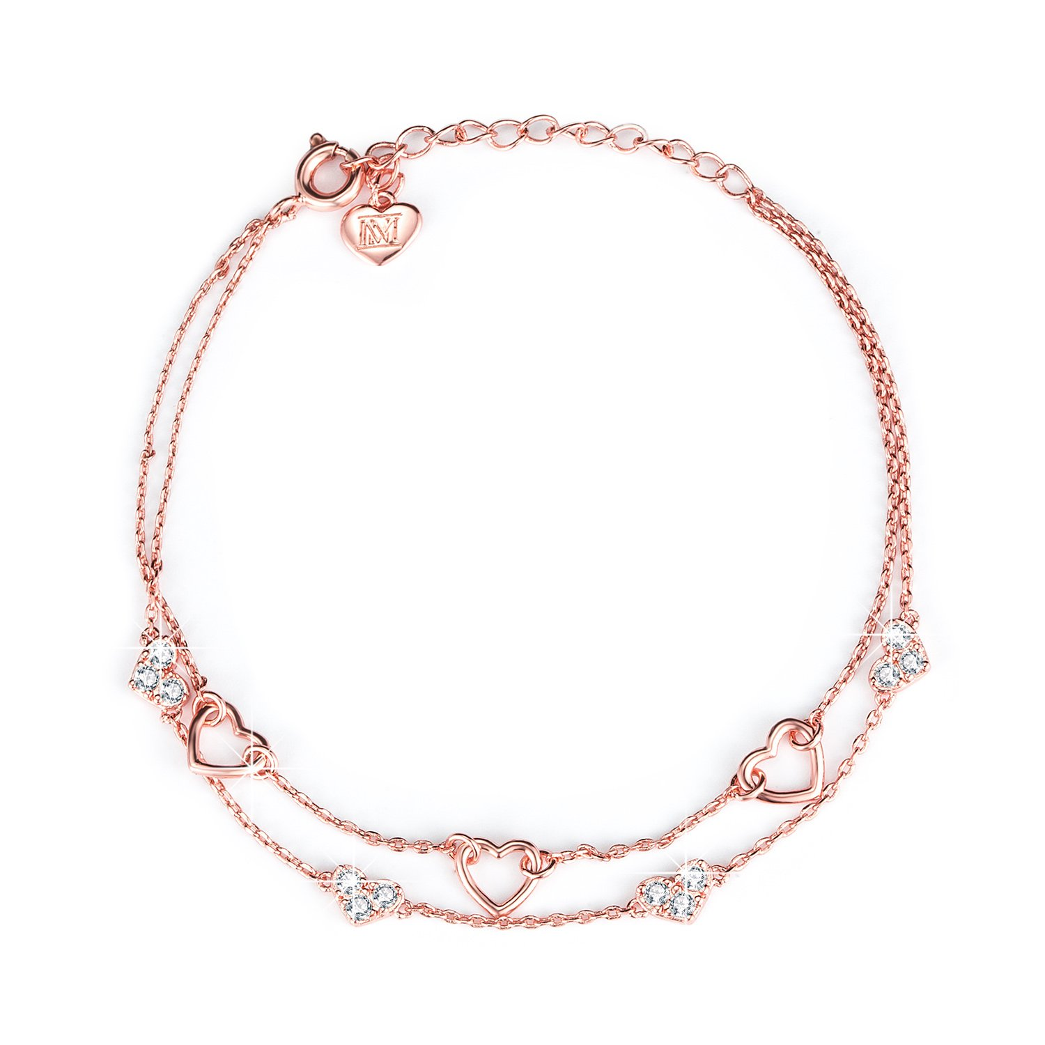 NINAMAID Eternity Love Heart Shaped Bracelet with Cubic Zirconia Gold Plated Copper Women Jewelry (Rose Gold)