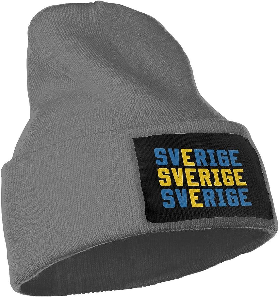 Sverige Sweden Swedish Flag Men Womens Solid Color Knit Beanie Hat Stretchy /& Soft Winter Ski Skullcap