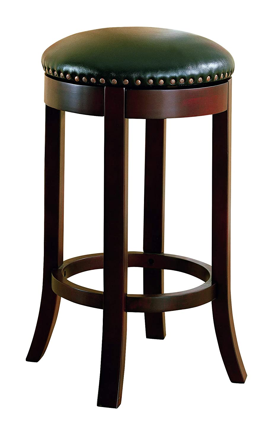 "29"" Swivel Bar Stools with Upholstered Seat Walnut and Dark Brown (Set of 2)"