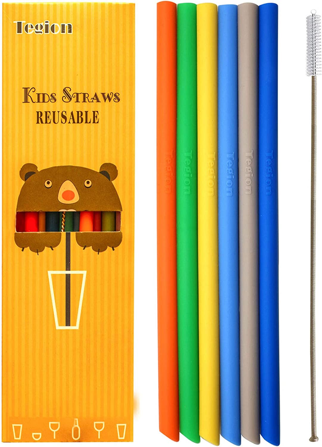 Tegion Thin Short Reusable Toddlers& Kids Silicone Straws for The First Years Take & Toss Spill Proof Straw Cup, 10-14OZ Small tumbler 7 Pack (boys color)