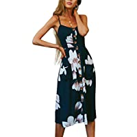 Angashion Women's Dresses-Summer Floral Bohemian Adjustable Spaghetti Strap Button...
