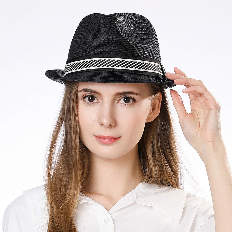 DOSOMI Fashion Men Women Fedora Straw Hat Unisex Panama Beach Sun Hat Adjustable Waistband