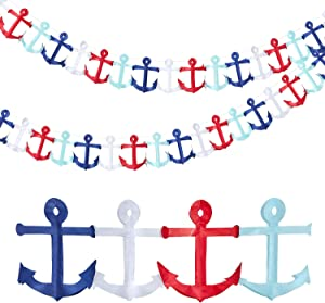Nautical Anchor Garland Nautical Party Themed Hanging Garland Anchor Garland Banner for Birthday Baby Shower Party Decoration (2)
