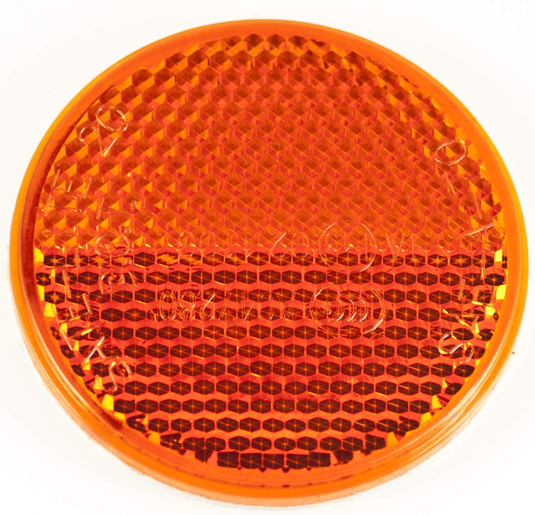 RV 2 Inch Round Reflector Bike,Trailer Boat Equipment Amber All Star Truck Parts Truck Camper with Super Strong Adhesive DOT//SAE Approved Mailbox Construction Qty 25 Red//Amber