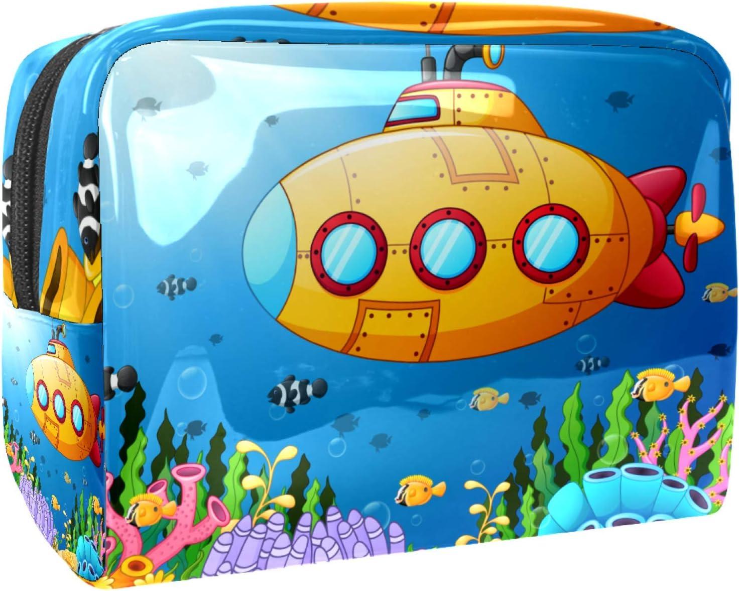 Bolsa de maquillaje portátil con cremallera, bolsa de aseo de viaje para mujeres, práctica bolsa de almacenamiento para cosméticos, submarino bajo el agua