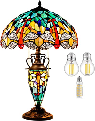 Tiffany Style Table Lamp W16H24 Inch 3 LED Bulb Included Sea Blue Yellow Stained Glass Dragonfly Lampshade Antique Night Light S128 WERFACTORY Lamps Lover Living Room Bedroom Reading Desk Art Gift