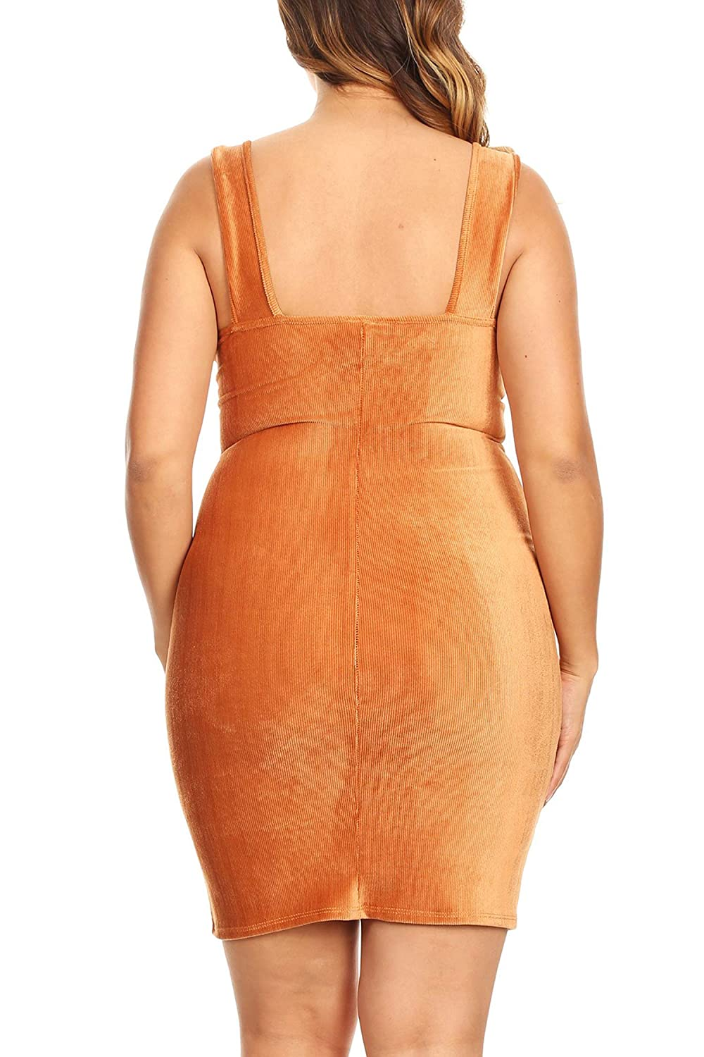 Bubble B Womens Junior Plus Size Corduroy Fitted Bodycon Dress