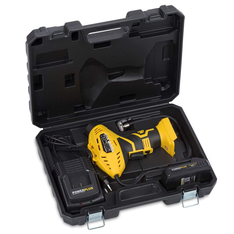 POWX1700 elektrische Luftpumpe Akku Handkompressor 18 Volt Li-Ion 8 bar inkl D/üsen-Set