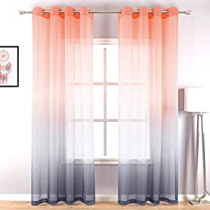 Coral and Gray Curtains for Living Room Set of 2 Panels Grommet Window Decorations Voile Drapes Faux Linen Ombre Sheer Curtains for Bedroom Dining Room Decor Salmon and Grey 52 x 84 Inch Length