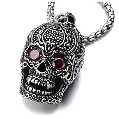 Stainless Steel Large Sugar Skull Pendant Necklace for Man with Red Cubic Zirconia with 30 in Wheat Chain cLjQrCdRS