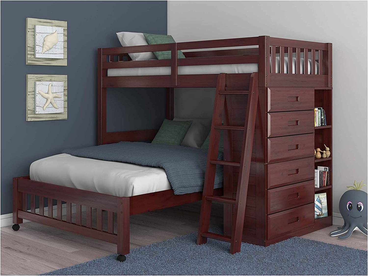 Twin Over Full Loft Bed in Merlot Finish