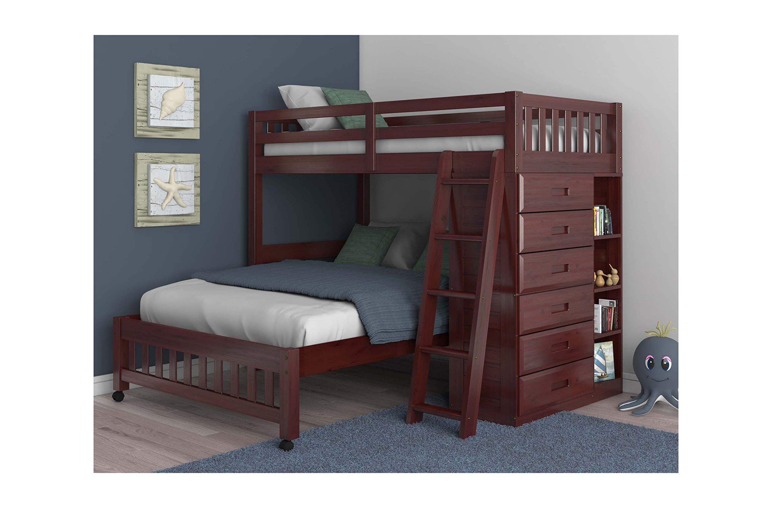 Discovery World Furniture Twin Over Full Loft Bed in Merlot Finish by Discovery World Furniture