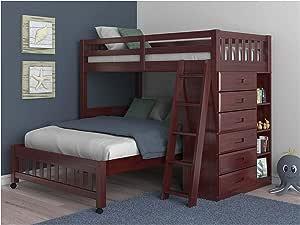 Twin Over Full Loft Bed In Merlot Finish Furniture Decor