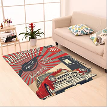 Nalahome Custom Carpet Yle Gasoline Station Commercial With Kitschy  Elements Route 66 Theme Graphic Vermilion And