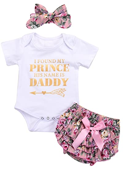 e1b89c3dc66 Amazon.com  EGELEXY Newborn Baby Girls Short Sleeves Princess Daddy Romper  Shorts 3Pcs Outfits Bow  Clothing