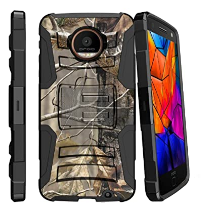 best service f94ed 28452 MINITURTLE Case Compatible w/ Motorola Moto Z Force Droid Holster Case|  Motorola Z Force Case [Clip Armor] 2 Layer Hard Case Shock Resistant Corner  + ...