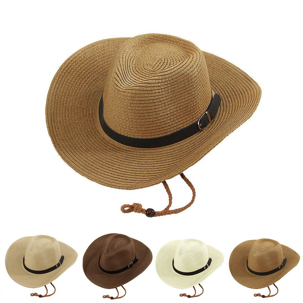 64d06430 Opromo Unisex Straw Cowboy Hats Cool Western Style Summer Beach Sun  Caps-Beige at Amazon Men's Clothing store: