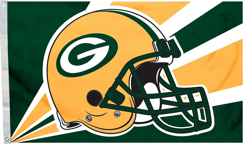 Fremont Die NFL Green Bay Packers 3' x 5' Flag with Grommets, 3 x 5-Foot, Helmet