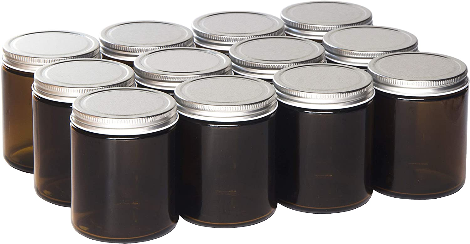 North Mountain Supply 9 Ounce Amber Glass Straight Sided Mason Canning Jars - With 70mm Lids - Case of 12 (Silver Metal Lids)