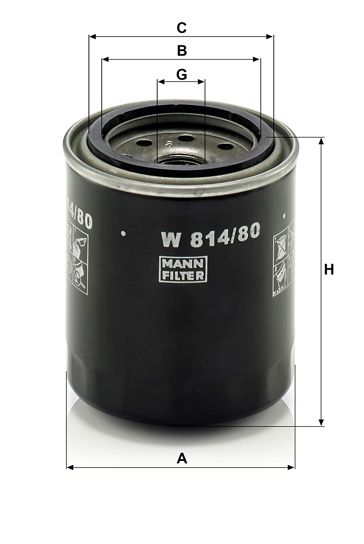 MANN-FILTER W814//80 Originale Filtro Olio,per Automobili e Veicoli Commerciali