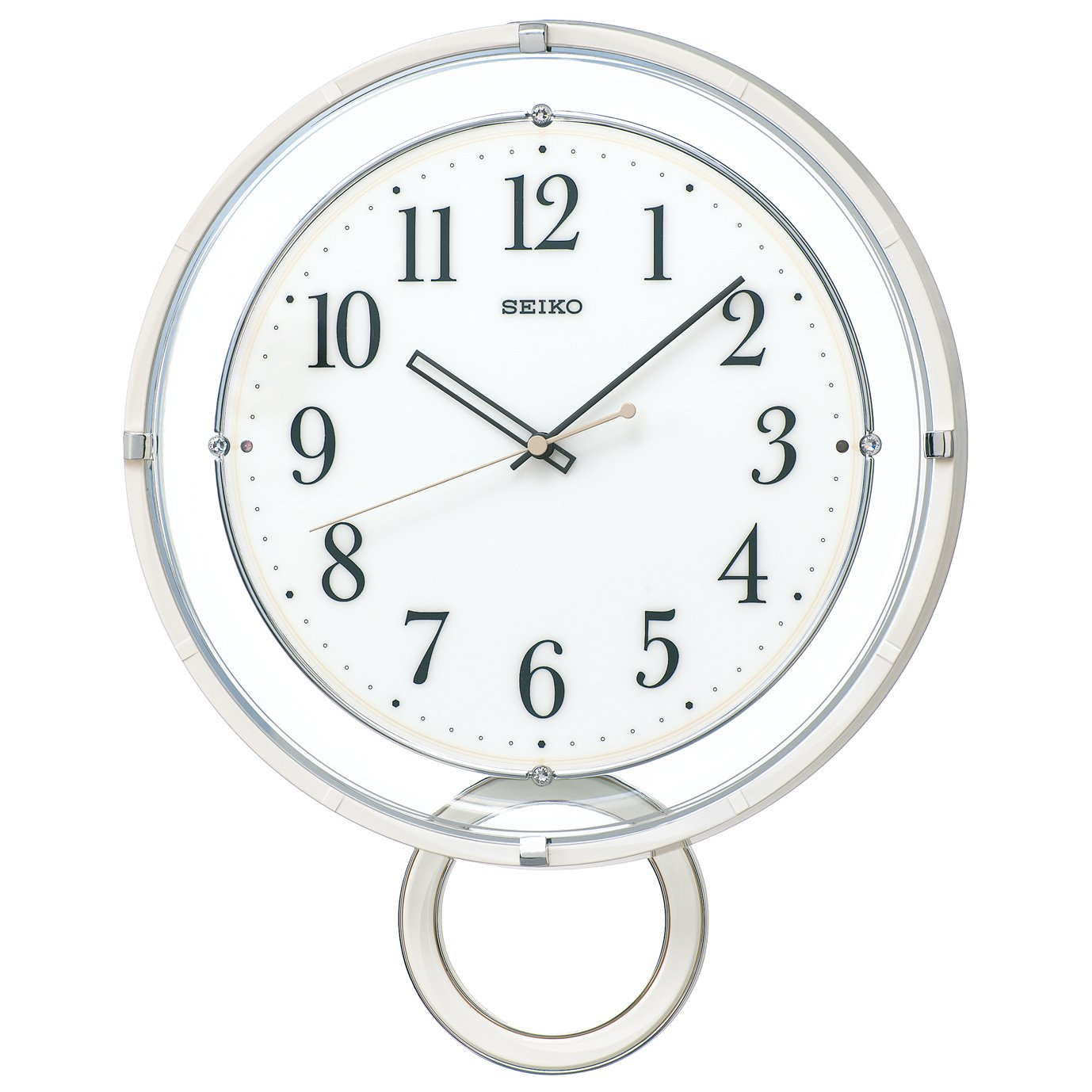 セイコー クロック 掛け時計 電波 アナログ 飾り振り子 白 PH205W SEIKO B016KC6X5M白