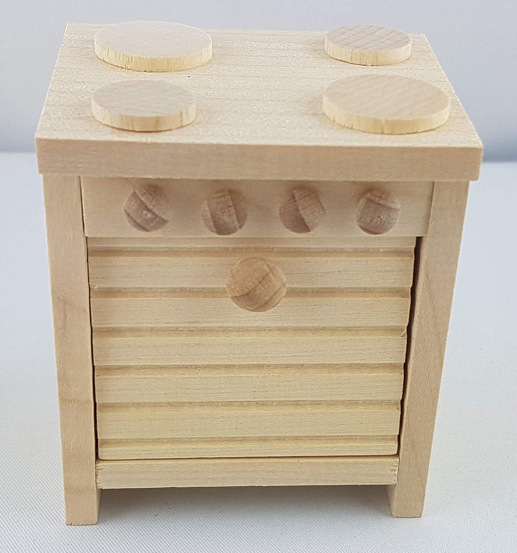 Rülke Holzspielzeug 22117 - Hornillo de Cocina para casa de muñecas (diseño rústico)