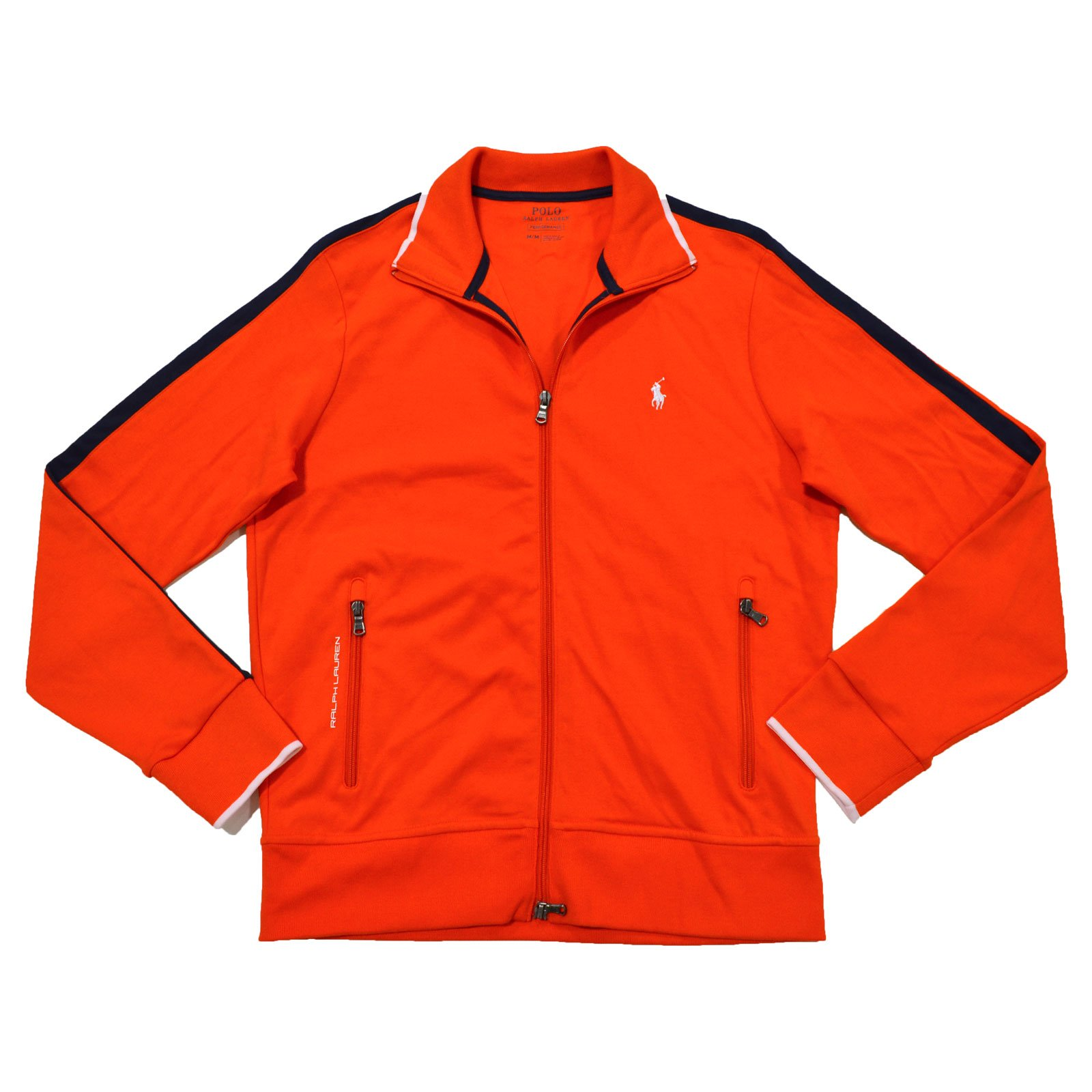 Polo Ralph Lauren Mens Full-Zip Athletic Performance Track Jacket (Orange, X-Large)