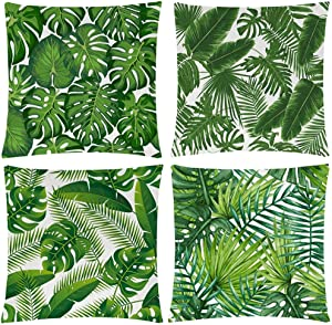 Wilproo Green Tropical Leaves Throw Pillow Covers, Set of 4 20x20 Cotton Linen Durable Sturdy Decorative Pillowcase w/Hidden Zipper for Sofa Couch Bench Car Decor