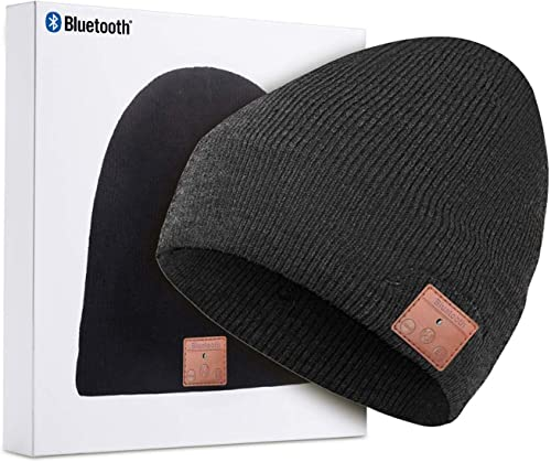 Beanie with Bluetooth Upgraded Version 5.0, Bluetooth Beanie Hat for Men with Stereo Speakers Microphone, Unique Christmas Gift for Men, Teenager, Women, Dad, Mom