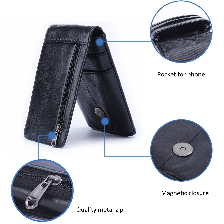 Hengying Vertical Funda para Cinturón Bolso de Cintura Hombre Cuero Cartera  para Teléfono Móvil de 5.5