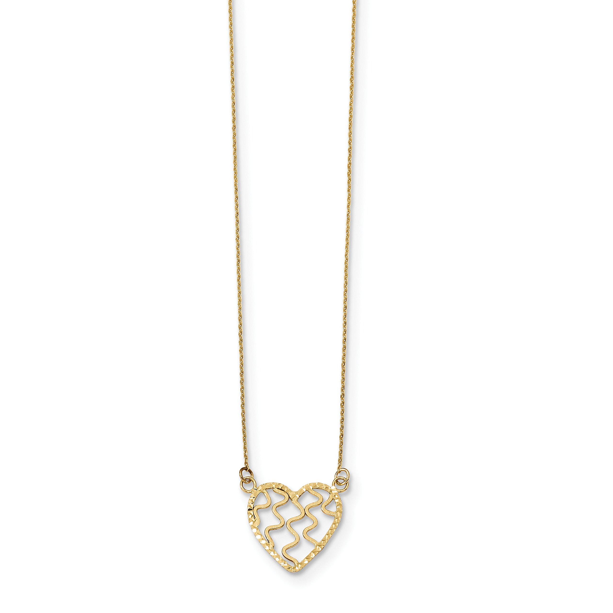 ICE CARATS 14k Yellow Gold Heart 18 Inch Chain Necklace Love Fancy Fine Jewelry Gift Set For Women Heart
