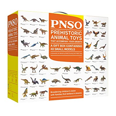 PNSO Dinosaur Toy Gift Box Containing 48 Small Realistic Animal Paleo Art Models: Toys & Games