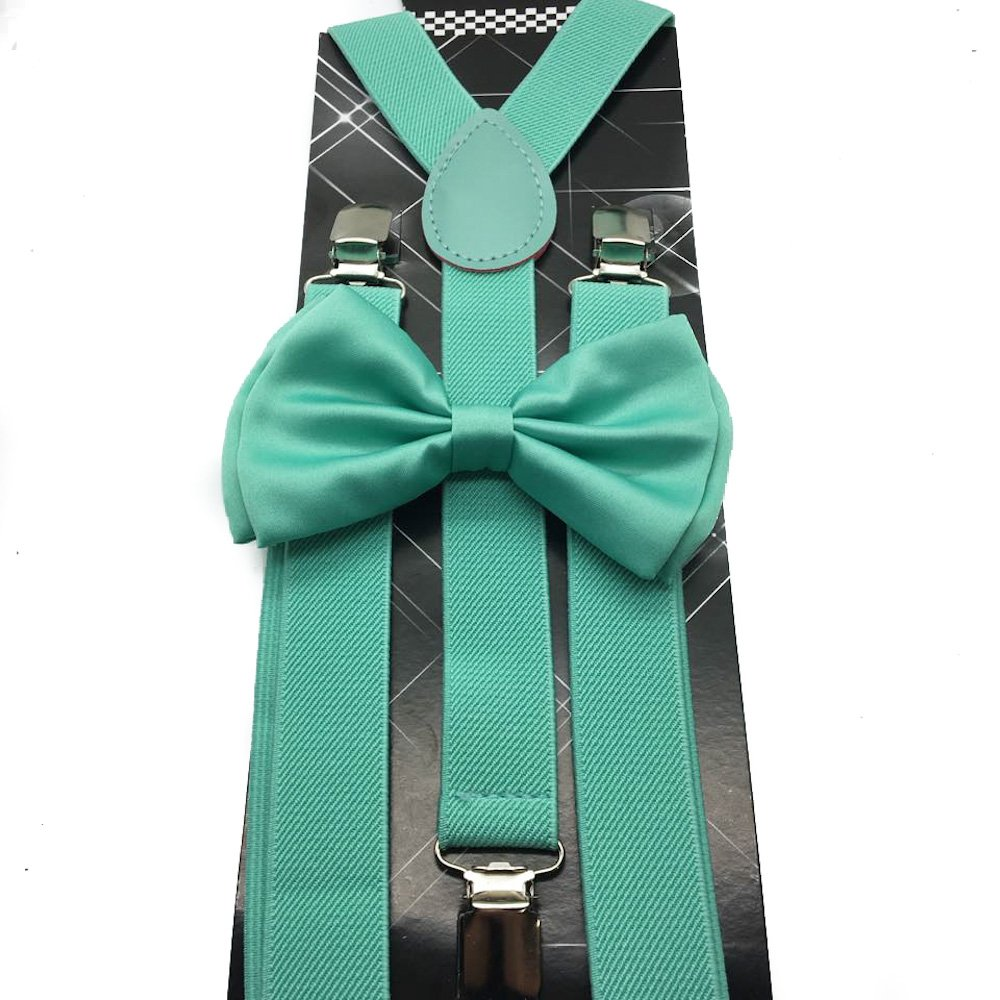 Awesome Teal Mint Green Wedding Accessories Adjustable Bow Tie & Suspenders
