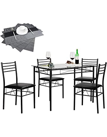 VECELO Dining Table With 4 Chairs