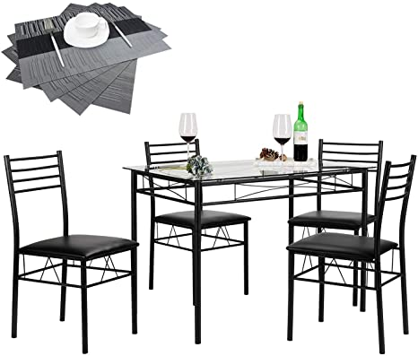 Amazon Com Vecelo Dining Table With 4 Chairs 4 Placemats Included Black Table Chair Sets
