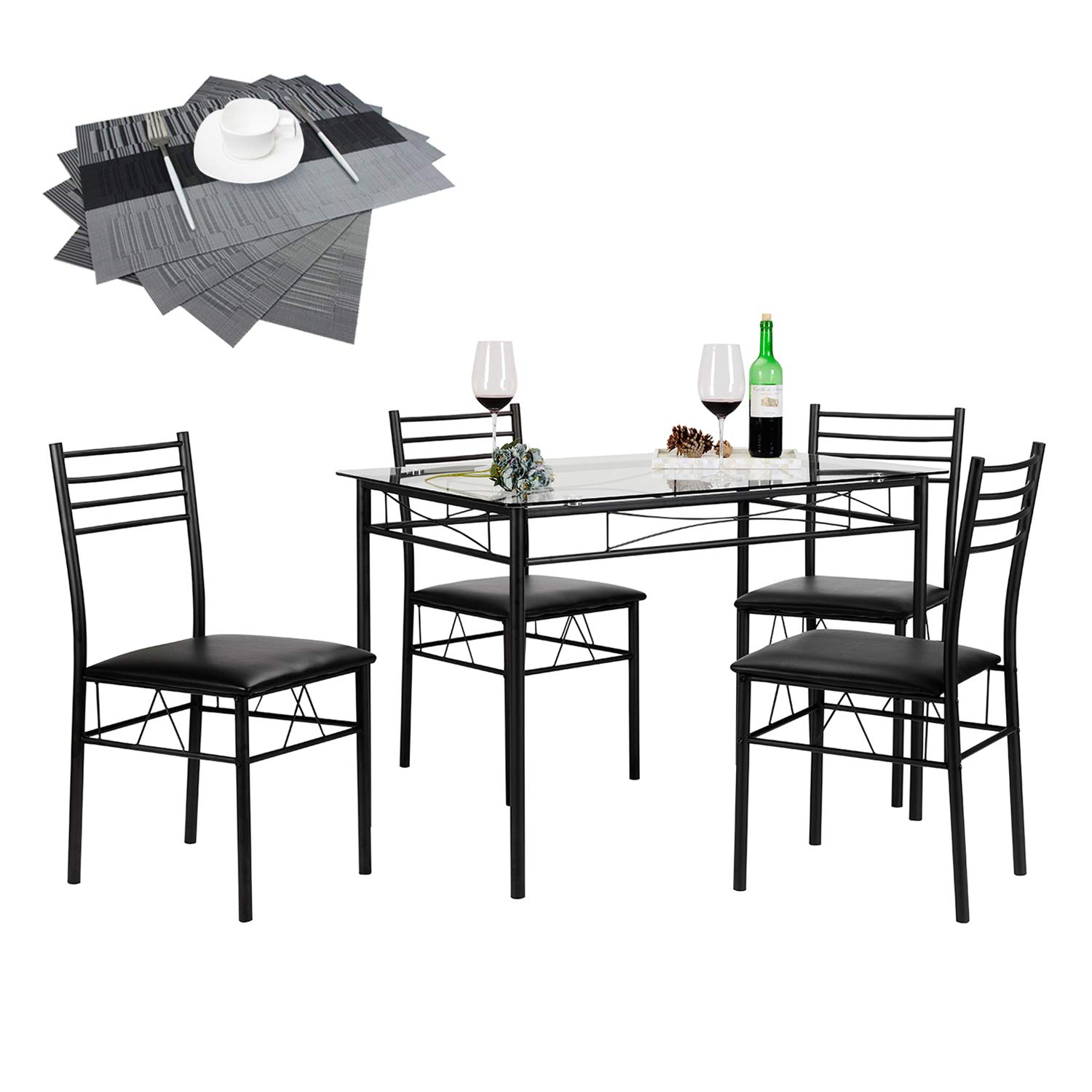 Amazon com vecelo 5 piece dining table set with with chairs 4 placemats included black kitchen dining