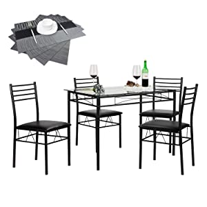 VECELO 5 Piece Dining Table Set with Chairs [4 Placemats Included], Black
