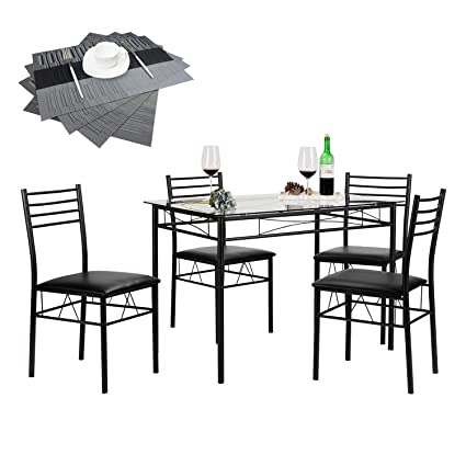 Vecelo Dining Table With 4 Chairs 4 Placemats Included Black