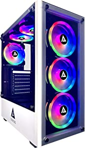 Apevia Genesis Pro G-PRO-WH Mid Tower Gaming Case with 2 x Tempered Glass Panel, Top USB3.0/USB2.0/Audio Ports, 6 x RGB Fans, White Frame