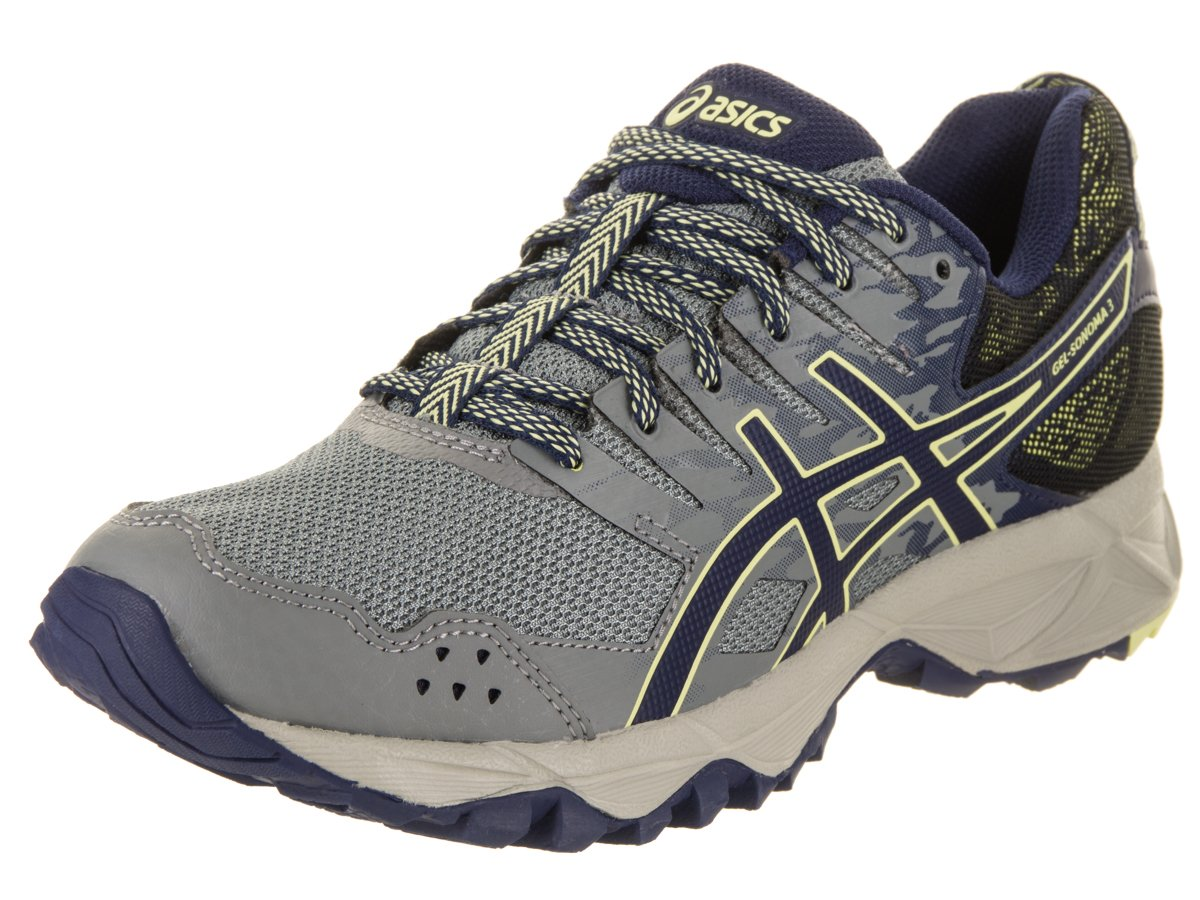 ASICS Women's Gel-Sonoma 3 Trail Runner B0725SSYVX 8.5 B(M) US|Stone Grey/Indigo Blue/Limelight